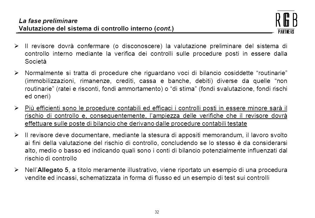 La fase preliminare Valutazione del sistema di controllo interno (cont