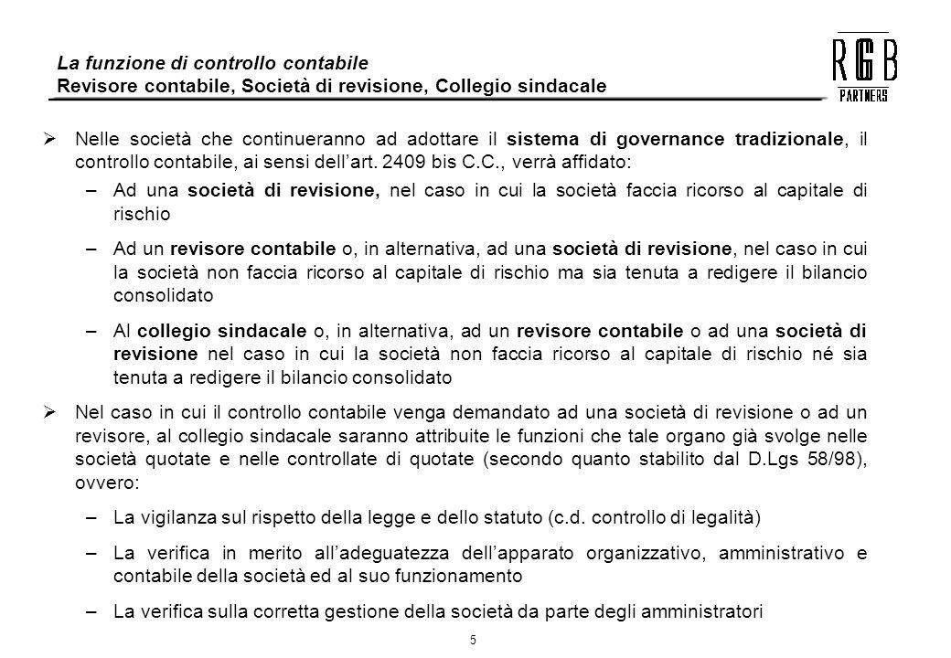 La funzione di controllo contabile Revisore contabile, Società di revisione, Collegio sindacale