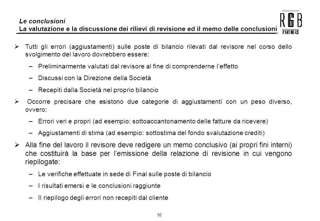 Le conclusioni La valutazione e la discussione dei rilievi di revisione ed il memo delle conclusioni