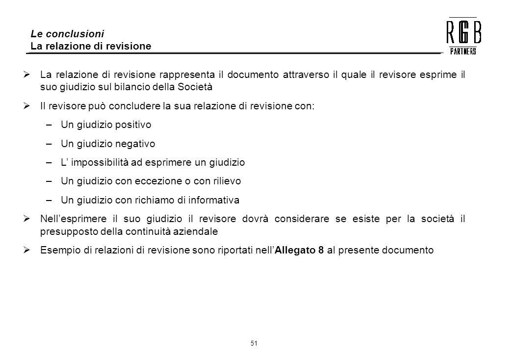 Le conclusioni La relazione di revisione