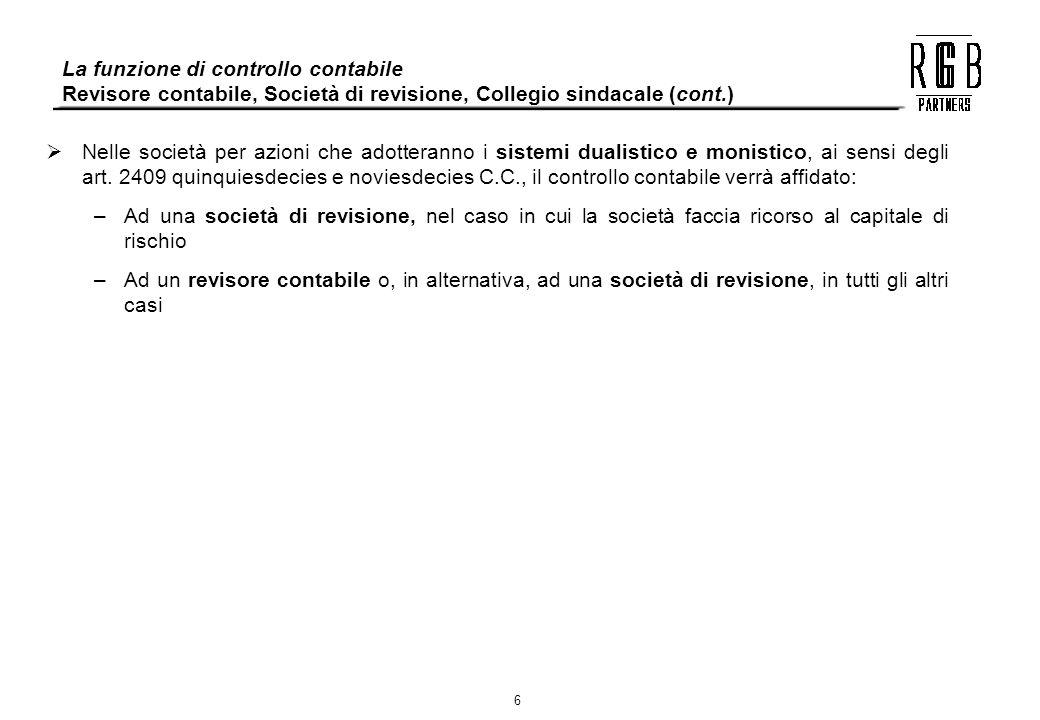 La funzione di controllo contabile Revisore contabile, Società di revisione, Collegio sindacale (cont.)