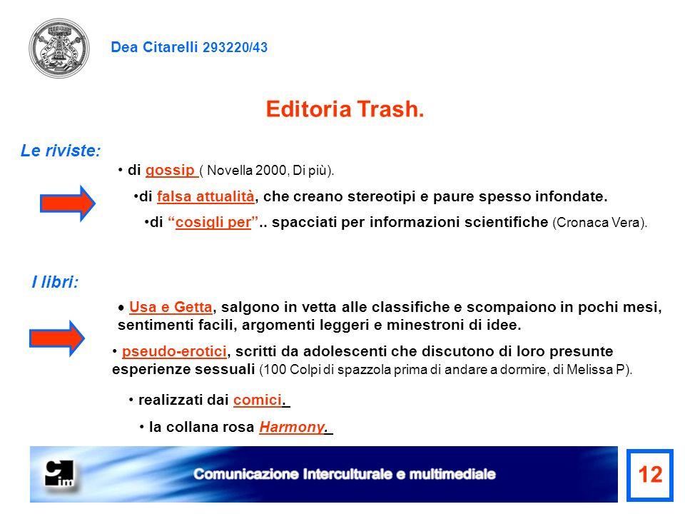 Editoria Trash. 12 Le riviste: I libri: Dea Citarelli 293220/43
