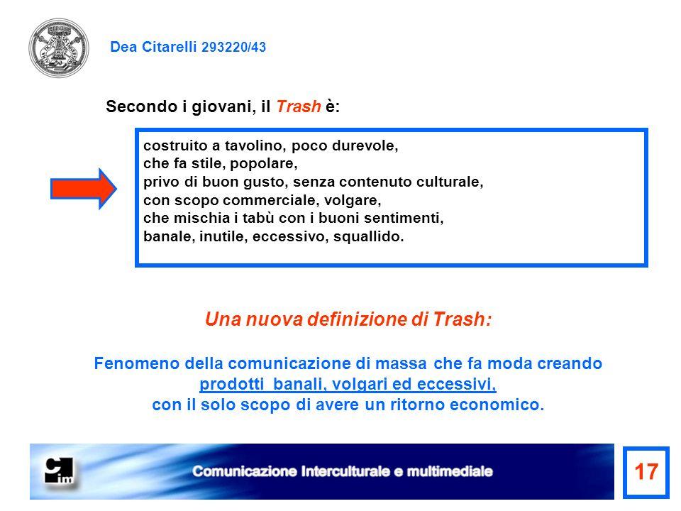 17 Una nuova definizione di Trash: Secondo i giovani, il Trash è: