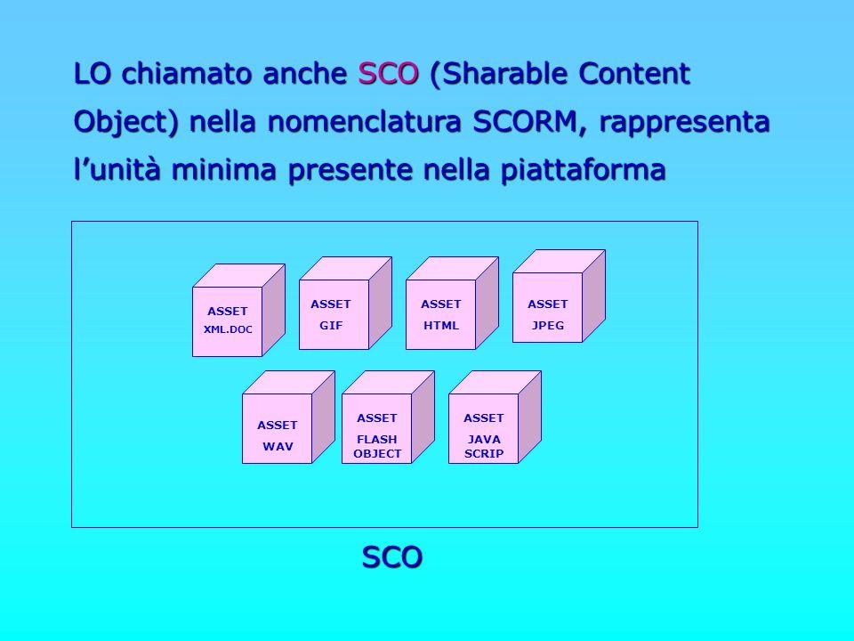 LO chiamato anche SCO (Sharable Content Object) nella nomenclatura SCORM, rappresenta l'unità minima presente nella piattaforma