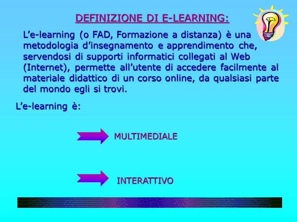 DEFINIZIONE DI E-LEARNING: