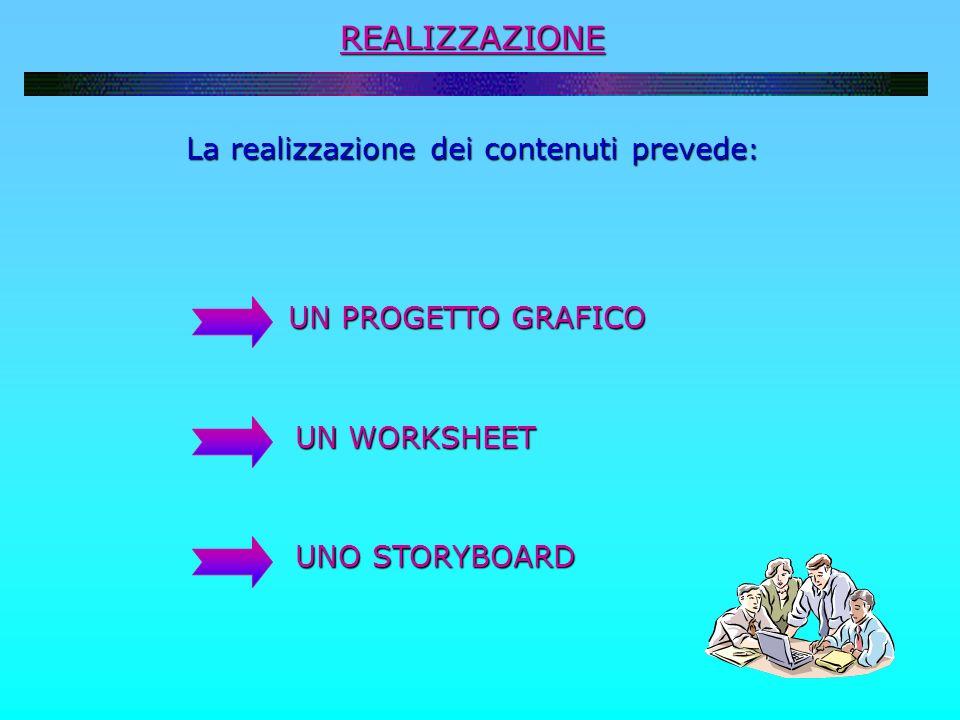 La realizzazione dei contenuti prevede: