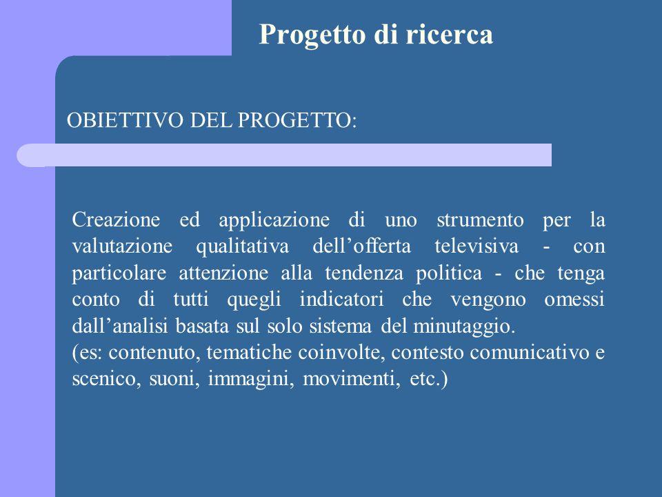 Progetto di ricerca OBIETTIVO DEL PROGETTO:
