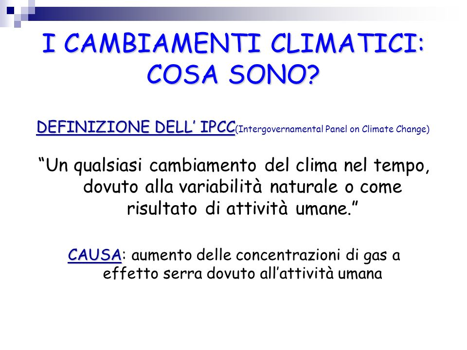 I CAMBIAMENTI CLIMATICI: COSA SONO