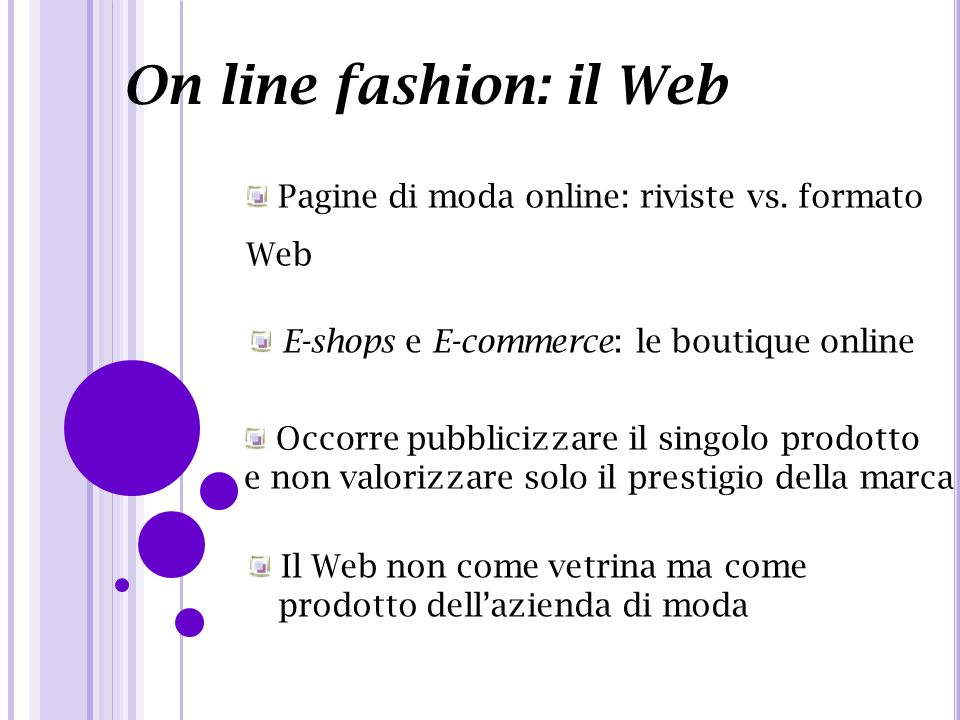 On line fashion: il Web Pagine di moda online: riviste vs. formato Web