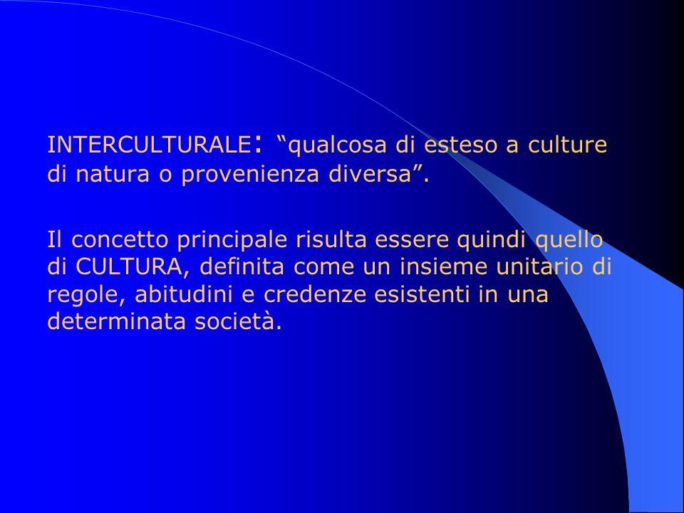 INTERCULTURALE: qualcosa di esteso a culture di natura o provenienza diversa .