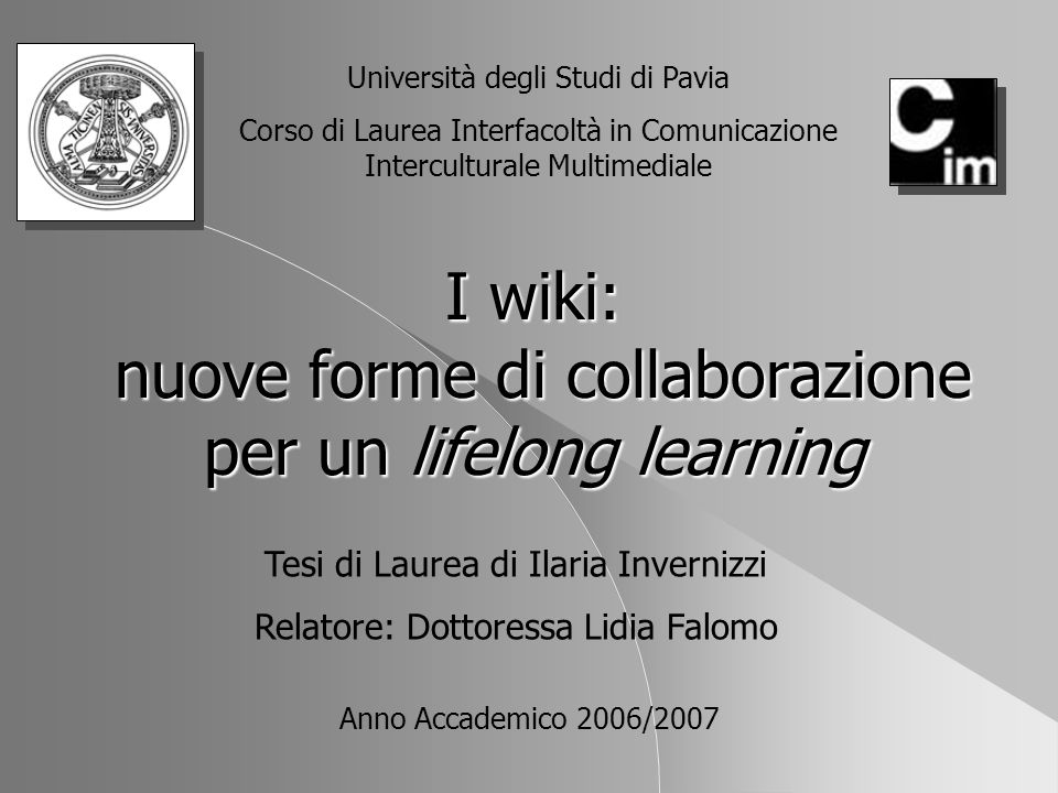 I wiki: nuove forme di collaborazione per un lifelong learning