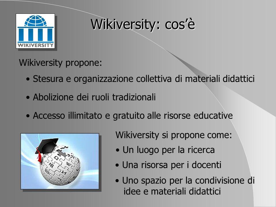 Wikiversity: cos'è Wikiversity propone: