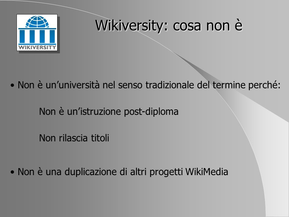 Wikiversity: cosa non è