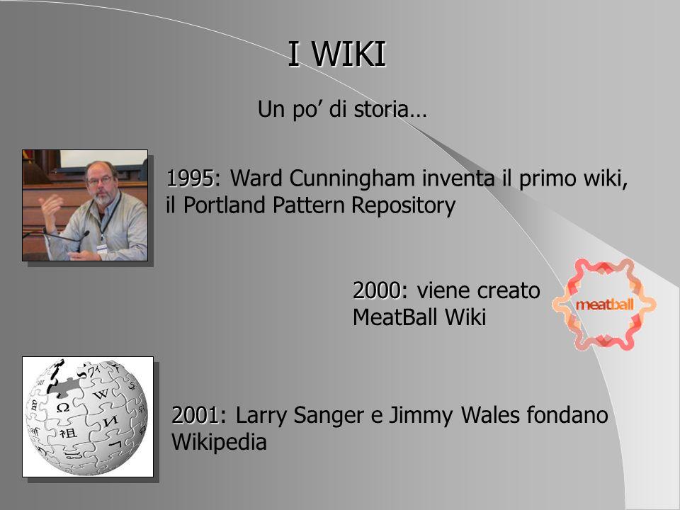 I WIKI Un po' di storia… 1995: Ward Cunningham inventa il primo wiki, il Portland Pattern Repository.