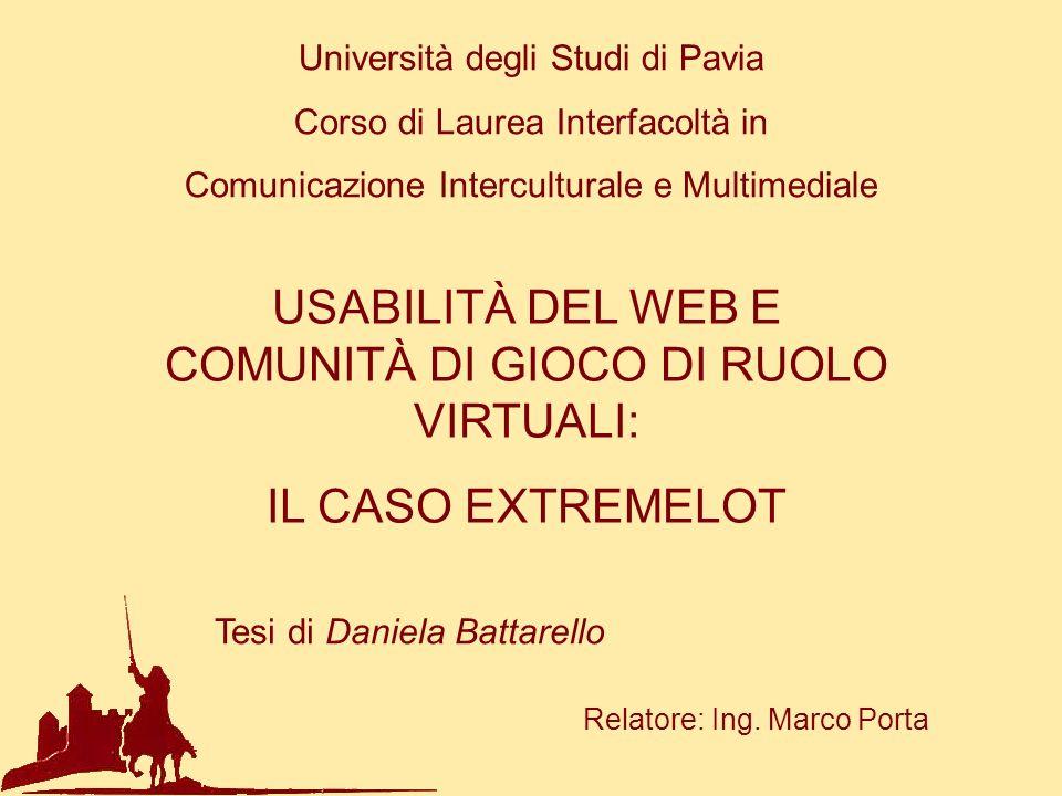USABILITÀ DEL WEB E COMUNITÀ DI GIOCO DI RUOLO VIRTUALI:
