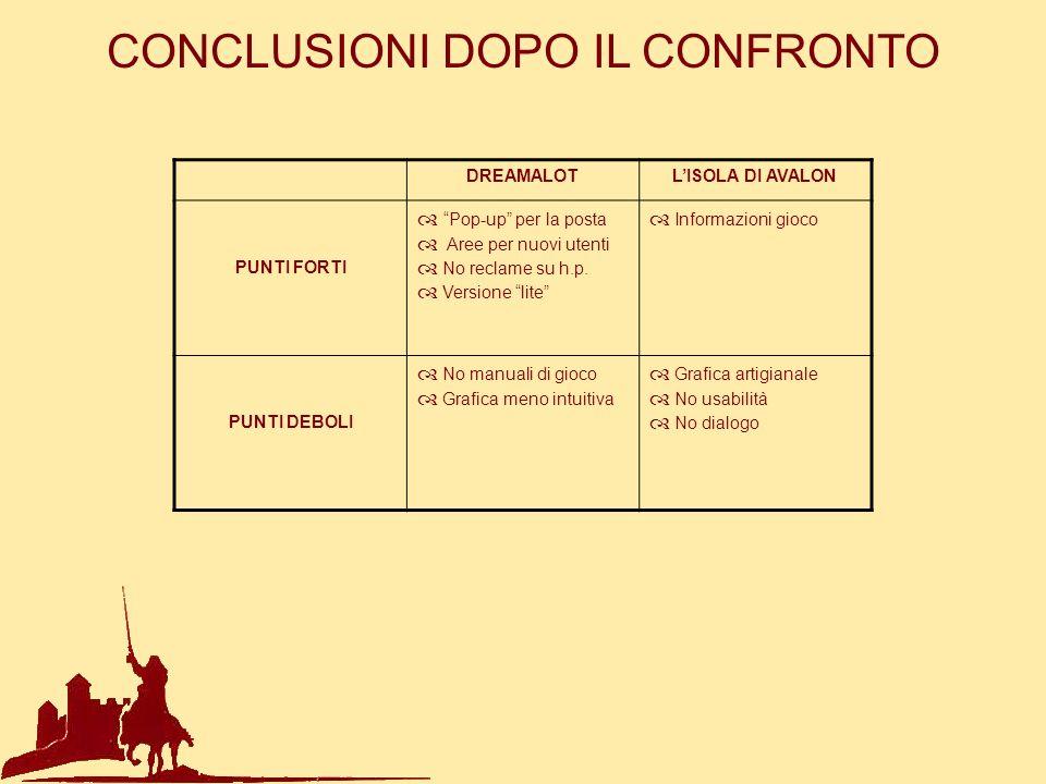 CONCLUSIONI DOPO IL CONFRONTO