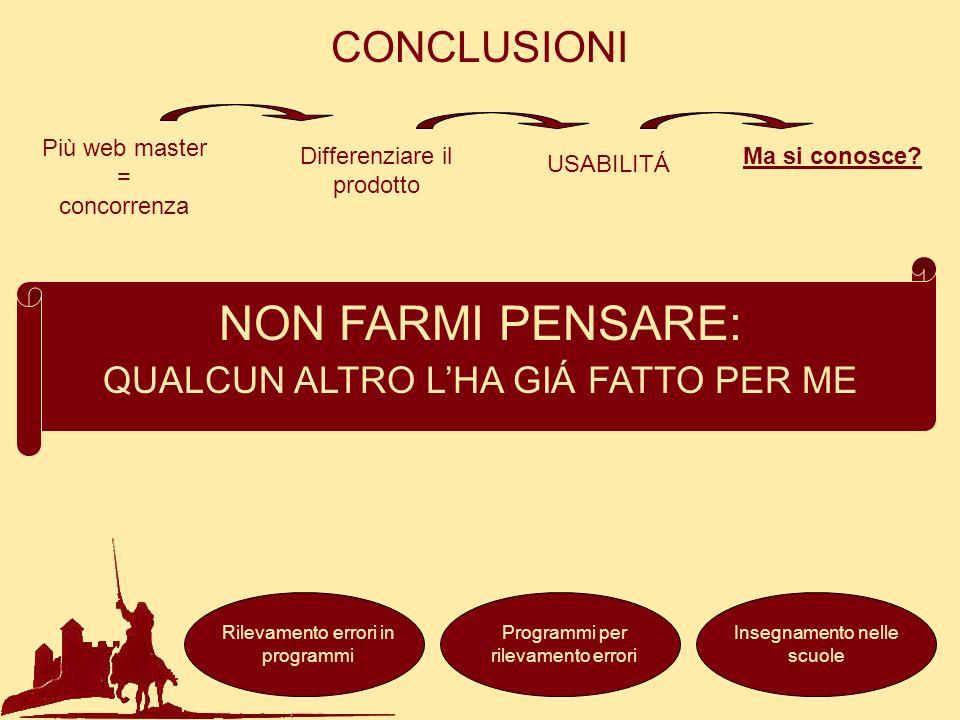 NON FARMI PENSARE: CONCLUSIONI QUALCUN ALTRO L'HA GIÁ FATTO PER ME
