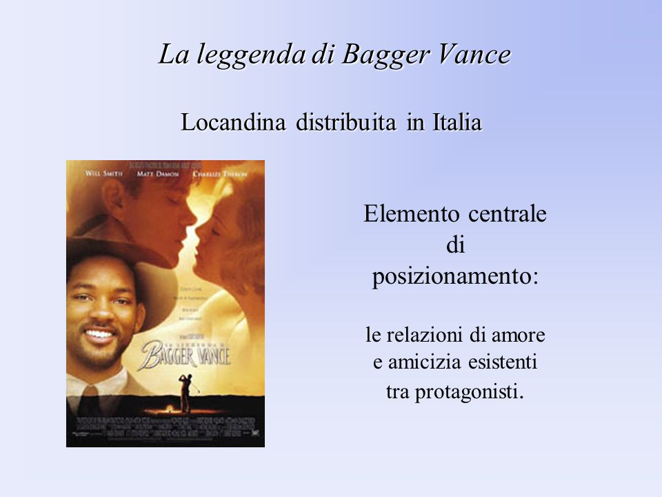 La leggenda di Bagger Vance Locandina distribuita in Italia