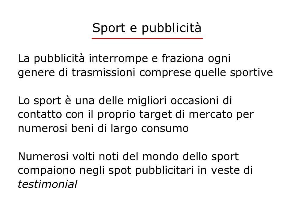 Sport e pubblicità La pubblicità interrompe e fraziona ogni