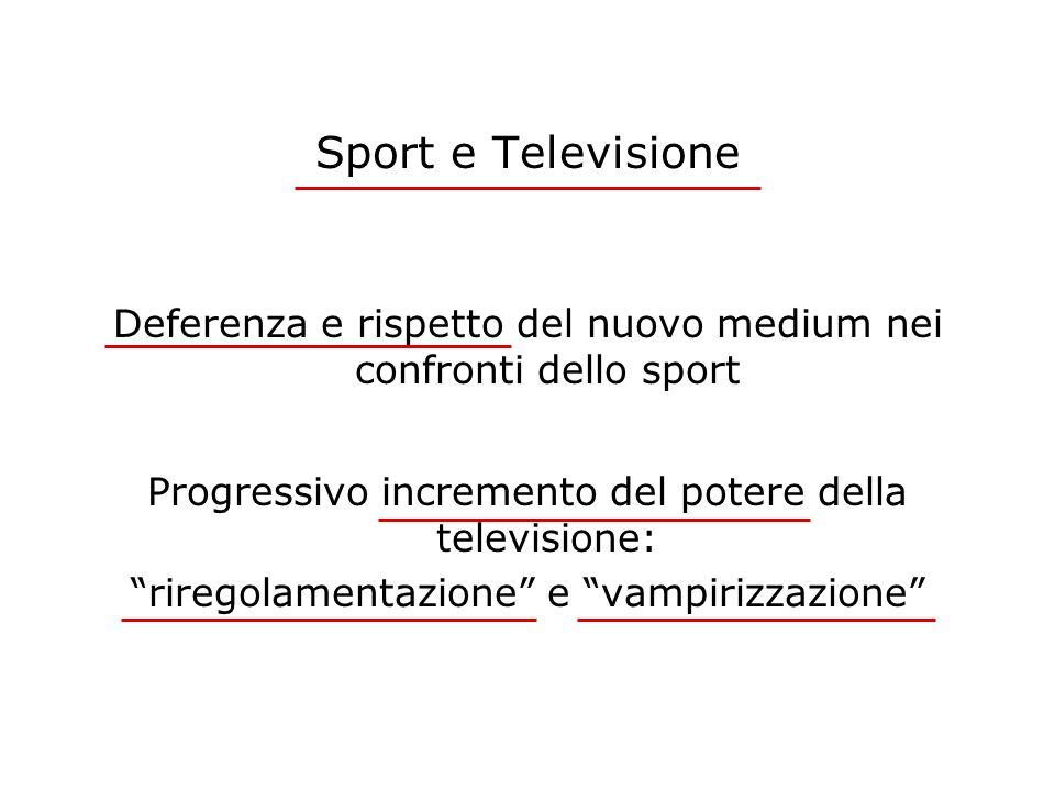 Sport e Televisione Deferenza e rispetto del nuovo medium nei confronti dello sport. Progressivo incremento del potere della televisione: