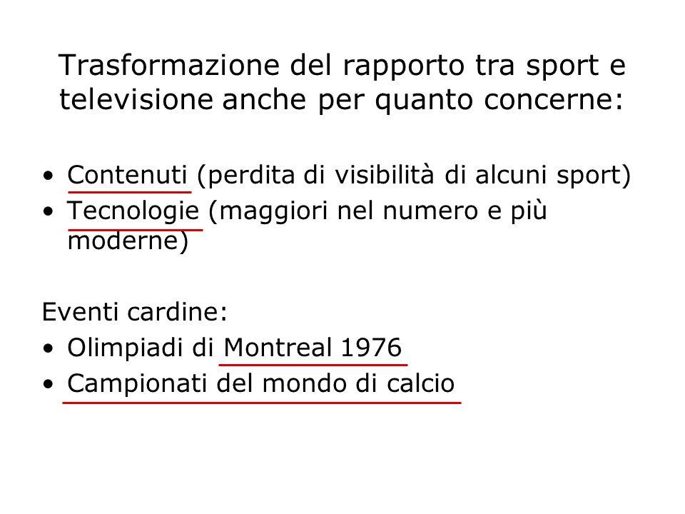 Trasformazione del rapporto tra sport e televisione anche per quanto concerne: