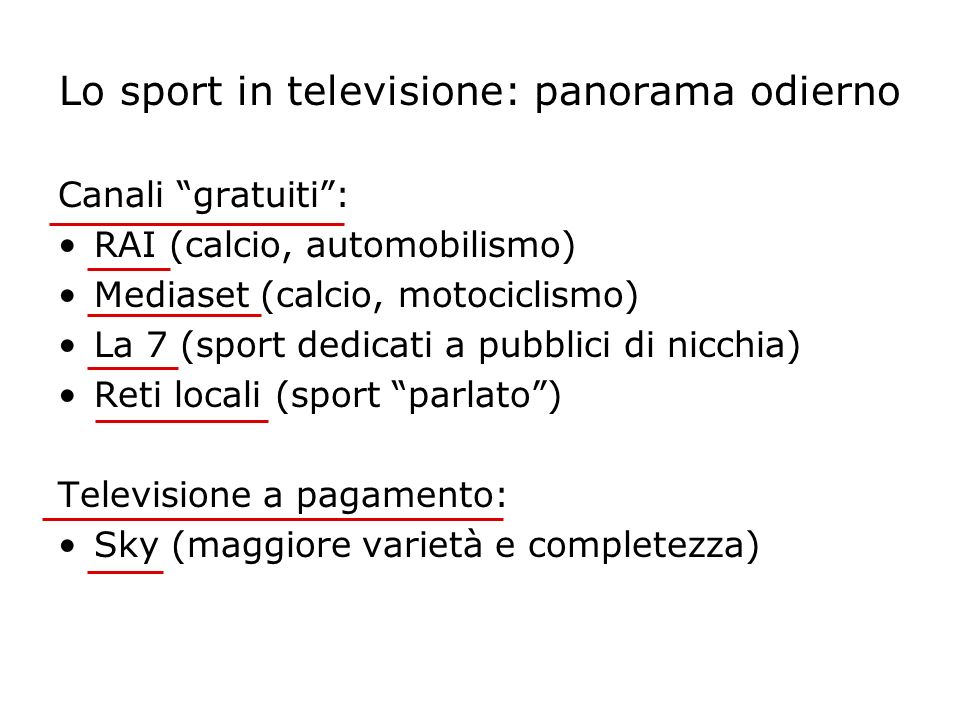 Lo sport in televisione: panorama odierno