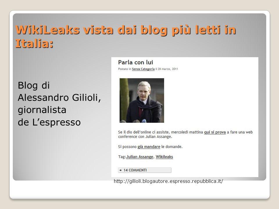 WikiLeaks vista dai blog più letti in Italia:
