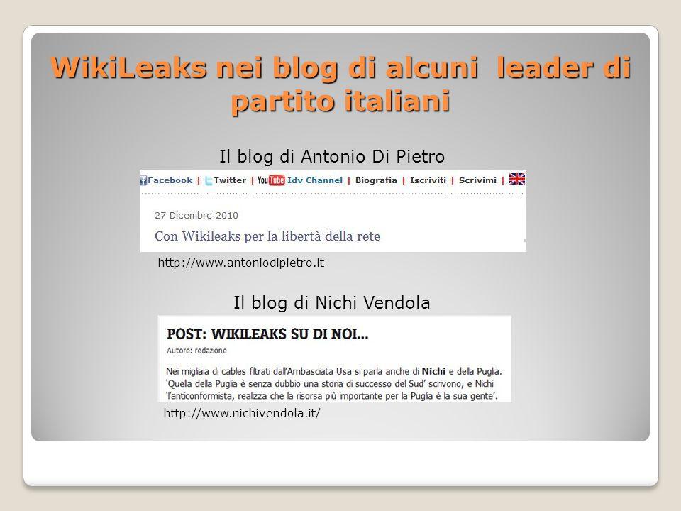 WikiLeaks nei blog di alcuni leader di partito italiani