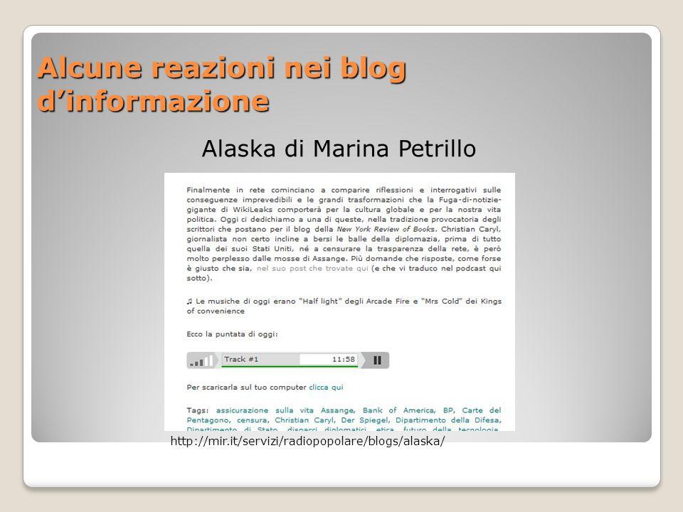 Alcune reazioni nei blog d'informazione