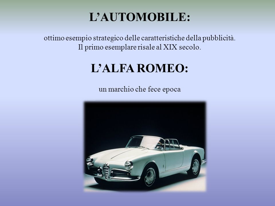 L'AUTOMOBILE: L'ALFA ROMEO: