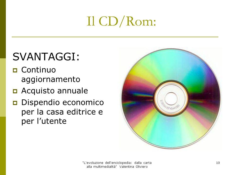 Il CD/Rom: SVANTAGGI: Continuo aggiornamento Acquisto annuale
