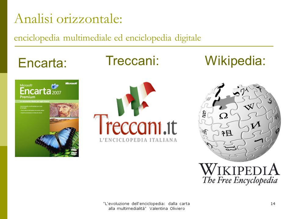 Analisi orizzontale: enciclopedia multimediale ed enciclopedia digitale