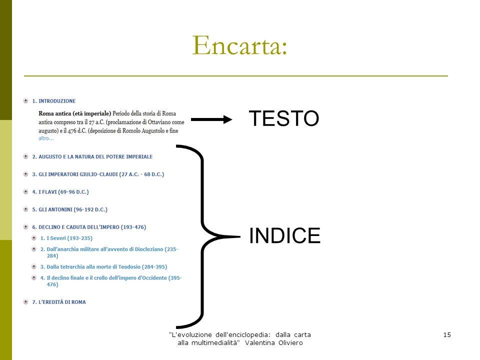 Encarta: TESTO. INDICE.
