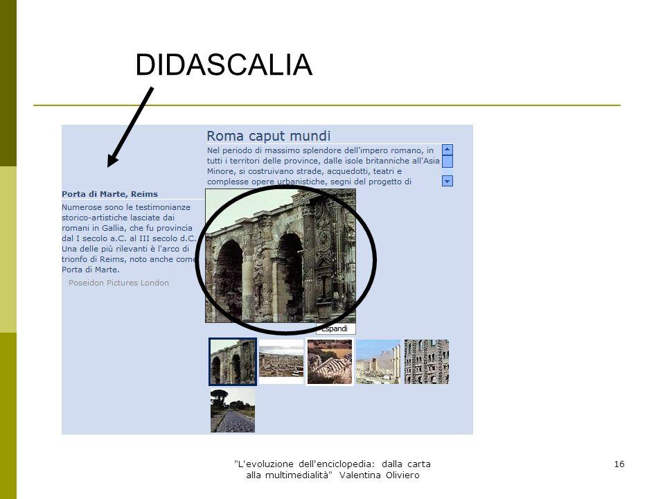 DIDASCALIA L evoluzione dell enciclopedia: dalla carta alla multimedialità Valentina Oliviero