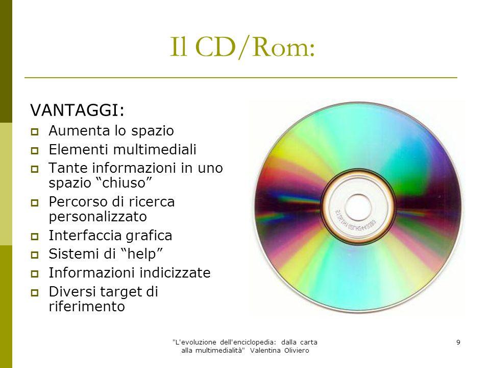Il CD/Rom: VANTAGGI: Aumenta lo spazio Elementi multimediali