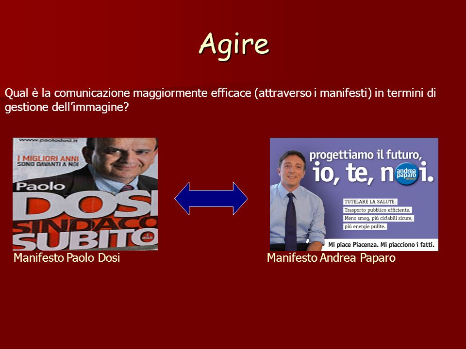 Agire Qual è la comunicazione maggiormente efficace (attraverso i manifesti) in termini di gestione dell'immagine