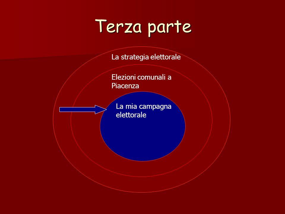 Terza parte La strategia elettorale Elezioni comunali a Piacenza