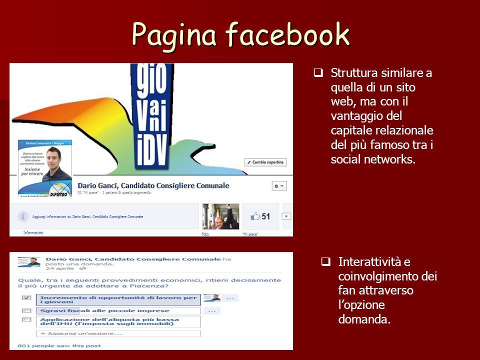 Pagina facebook Struttura similare a quella di un sito web, ma con il vantaggio del capitale relazionale del più famoso tra i social networks.