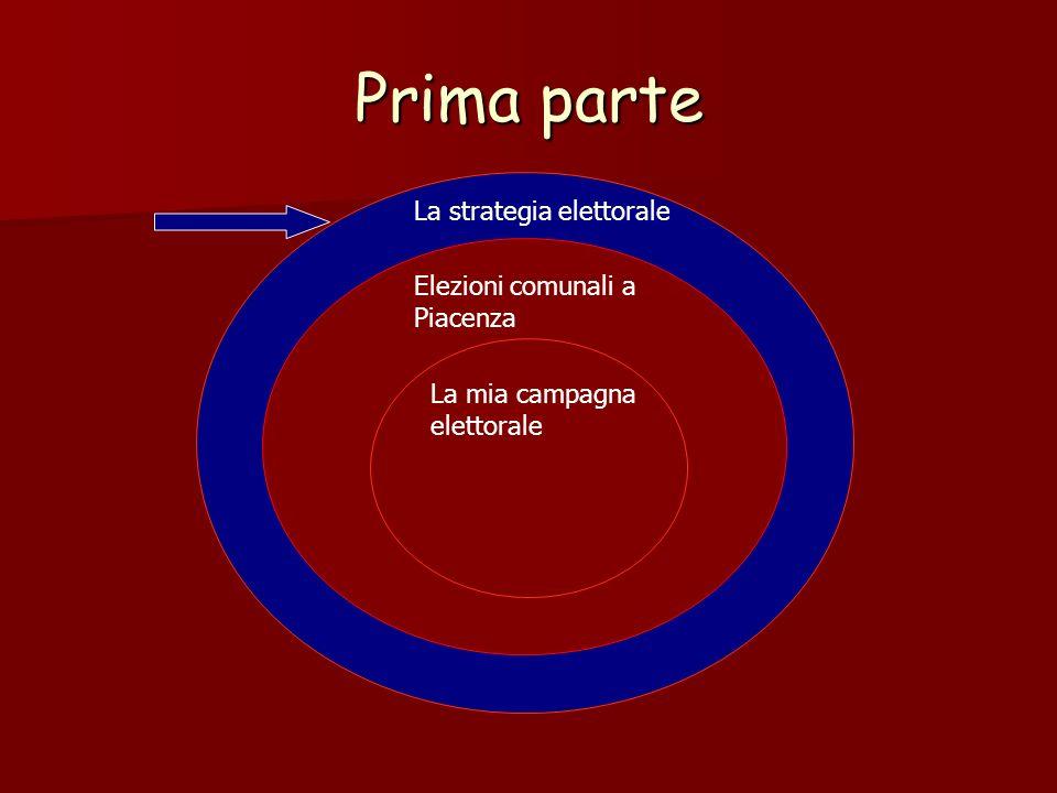 Prima parte La strategia elettorale Elezioni comunali a Piacenza