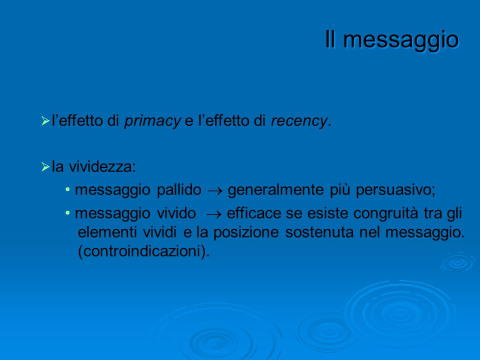 Il messaggio l'effetto di primacy e l'effetto di recency.