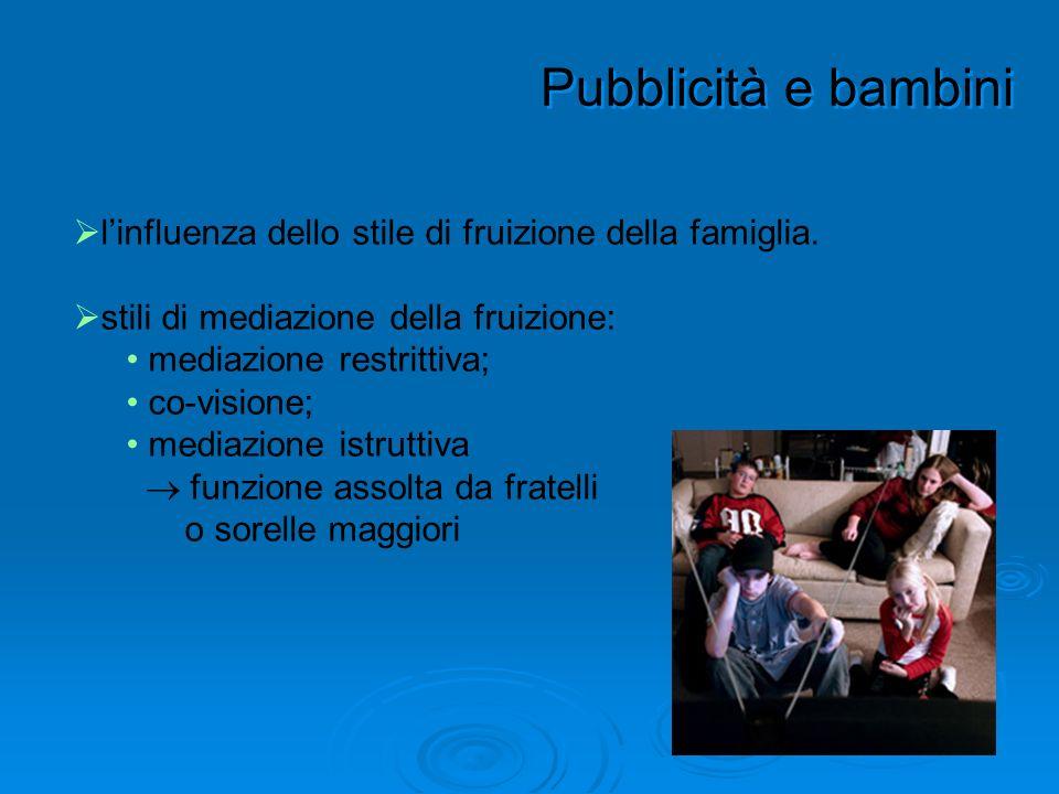 Pubblicità e bambini l'influenza dello stile di fruizione della famiglia. stili di mediazione della fruizione: