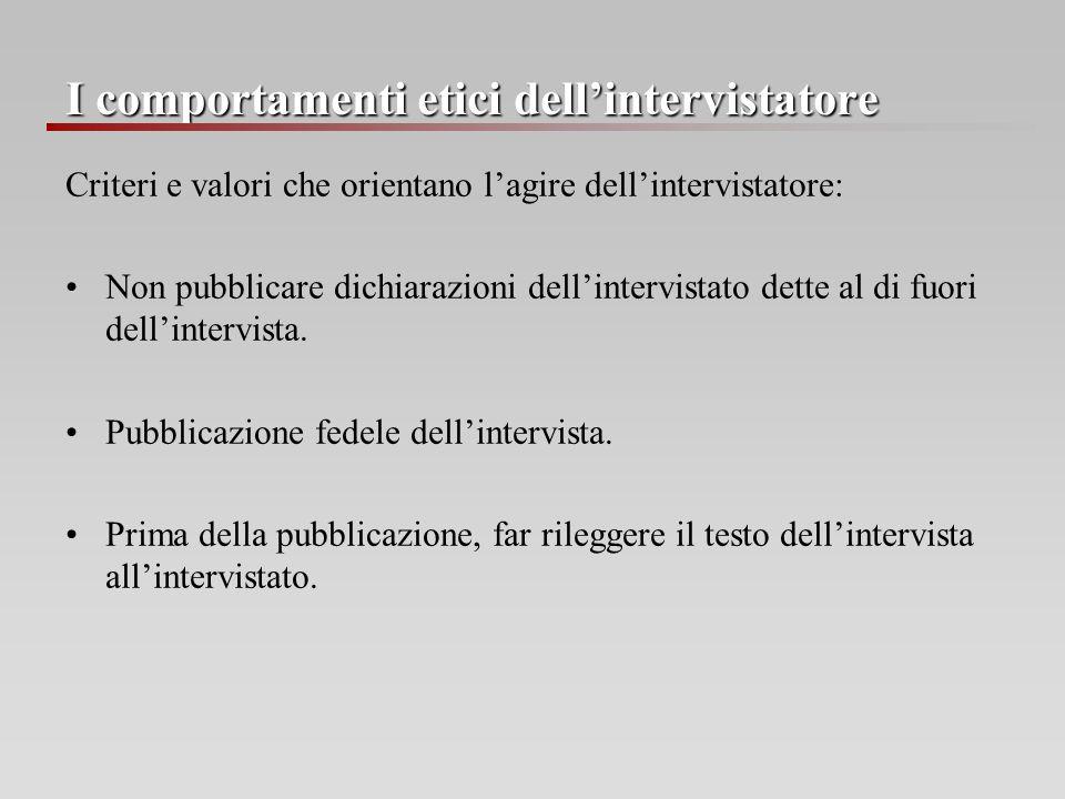 I comportamenti etici dell'intervistatore