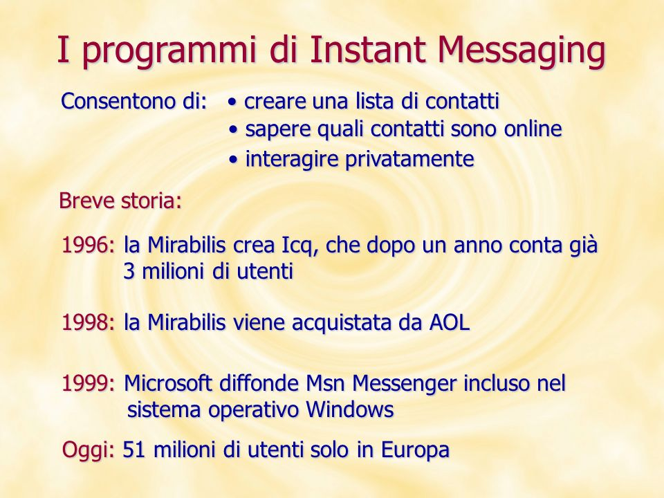 I programmi di Instant Messaging
