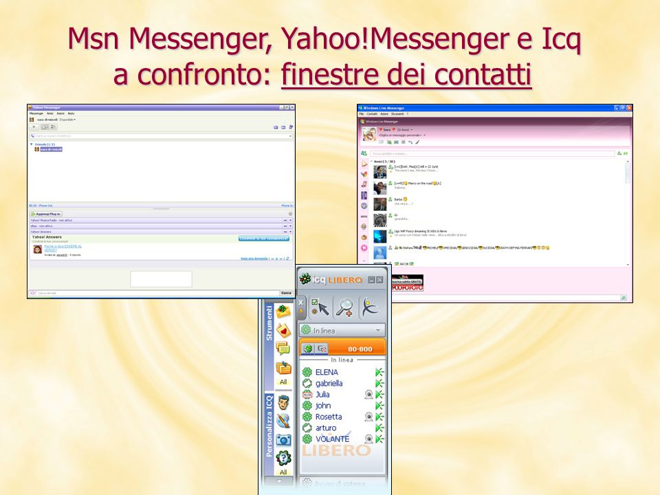 Msn Messenger, Yahoo!Messenger e Icq