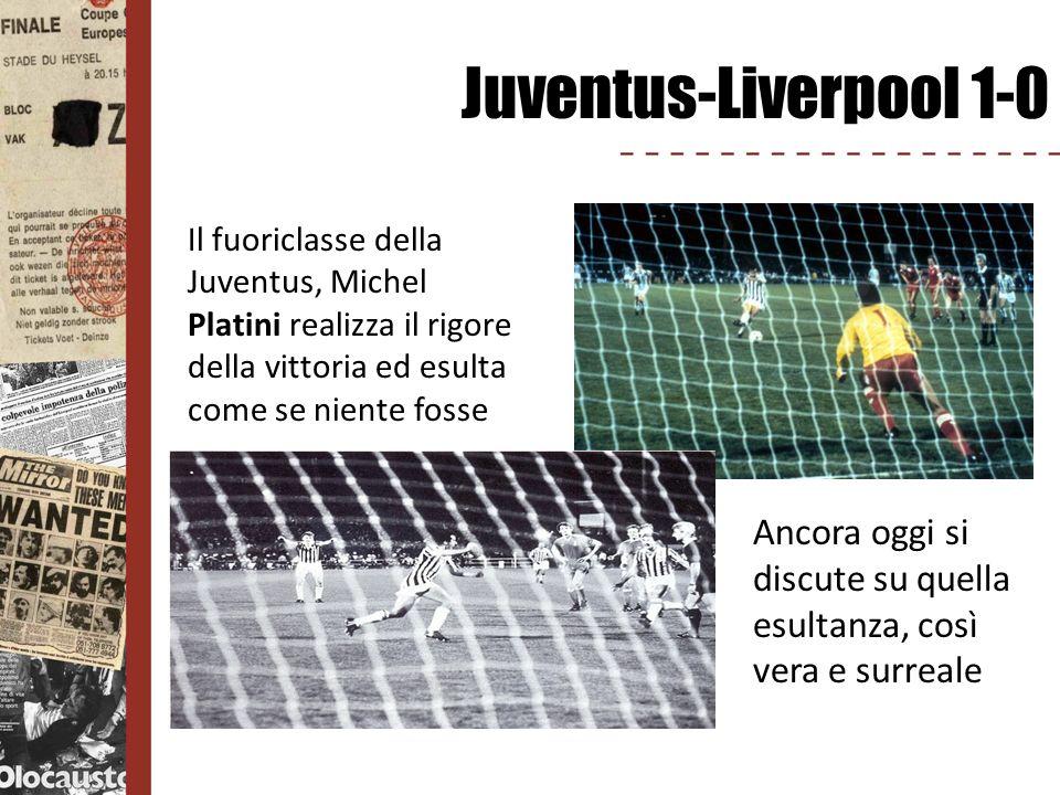 Juventus-Liverpool 1-0 Il fuoriclasse della Juventus, Michel Platini realizza il rigore della vittoria ed esulta come se niente fosse.