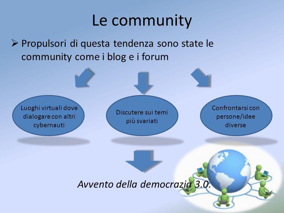 Le community Propulsori di questa tendenza sono state le community come i blog e i forum. Luoghi virtuali dove.