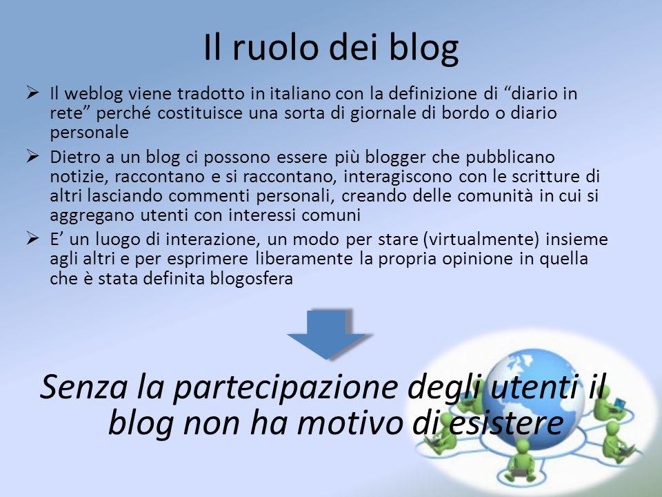 Senza la partecipazione degli utenti il blog non ha motivo di esistere