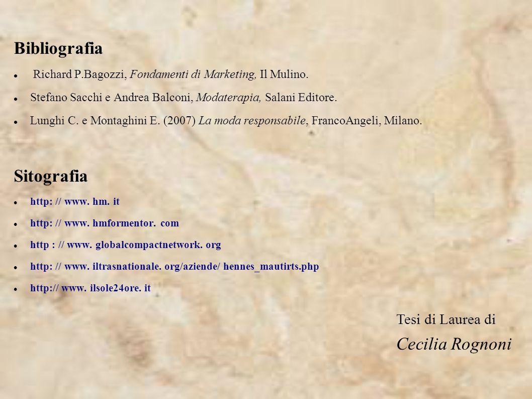 Bibliografia Sitografia Cecilia Rognoni Tesi di Laurea di