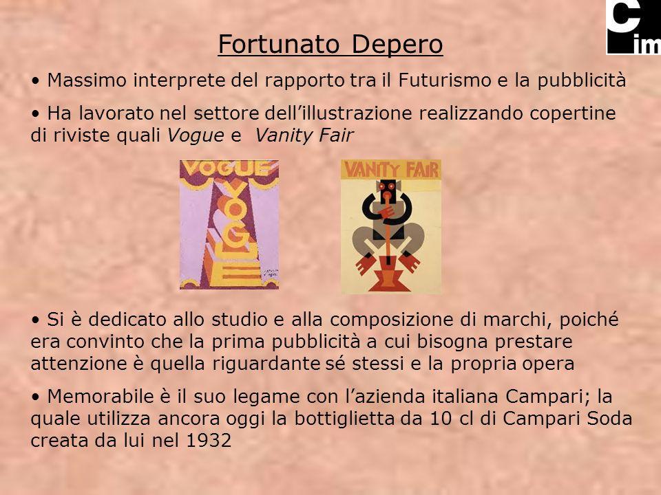 Fortunato Depero Massimo interprete del rapporto tra il Futurismo e la pubblicità.