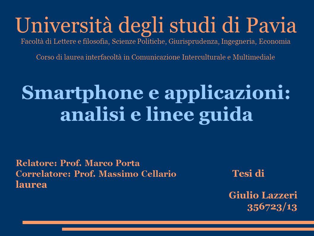 Smartphone e applicazioni: analisi e linee guida